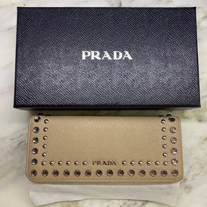 Prada Saffiano wallet with Vernice crystals.